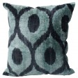 Rugs-USA-Ikat-Velvet-Silk-and-Cotton-Decorative-Pillow-Turquoise